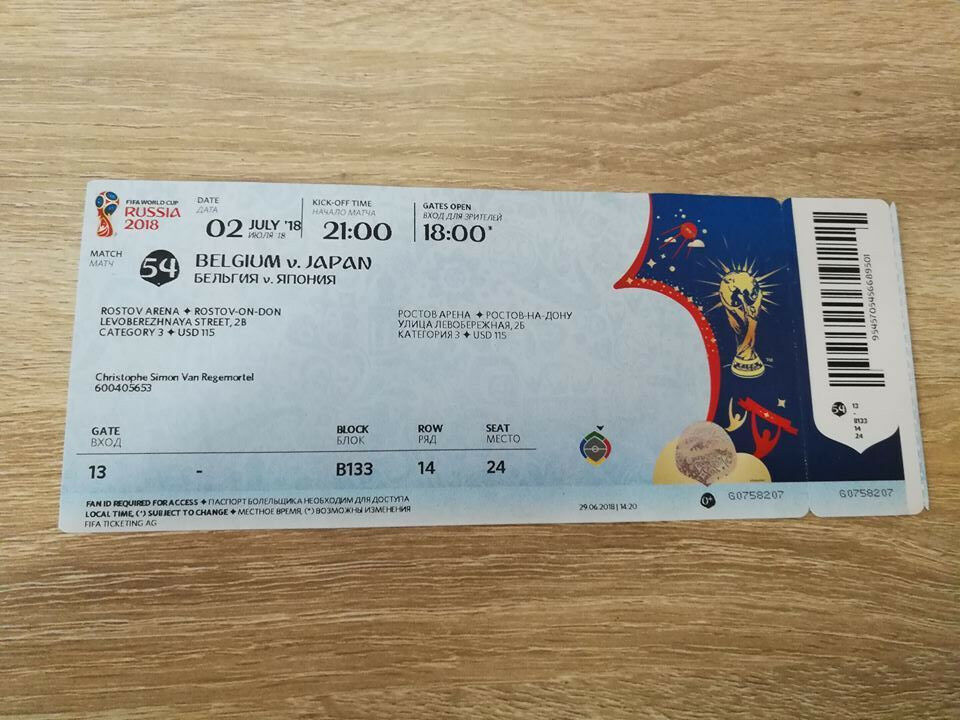 TICKET 2018 WM World #54 Cup #54 World BELGIUM - JAPAN with NAMES Russia MINT !!! ae28e7