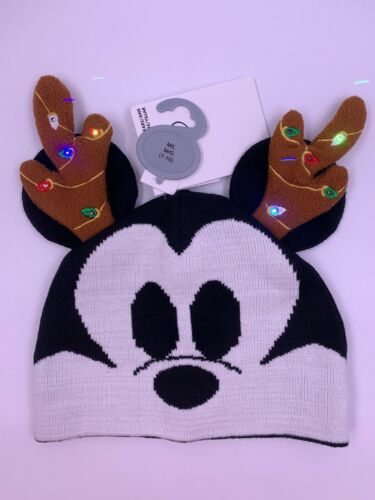 Mickey Mouse Reindeer Antler Light Up Christmas Beanie Hat Disney Holiday M//L