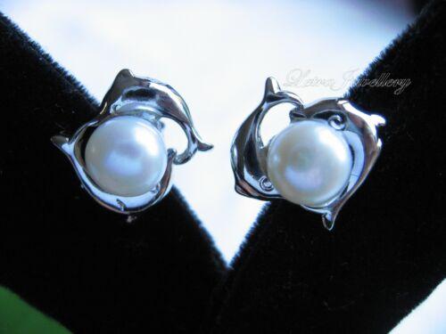 Vrai De Culture Perle D/'eau Douce Blanche Double Dauphins Clous Cadeau Cadeau