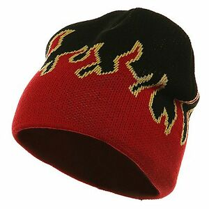 Black-amp-Red-Flames-Flame-Short-Fire-Beanie-Beanies-Winter-Ski-Hat-Hats-Skull-Cap
