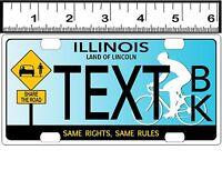 Custom Personalized Aluminum Bicycle Mini State License Plate-illinois Bike