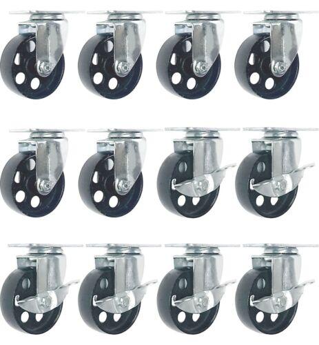 """12 All Steel Swivel Caster Wheels w Brake Lock Heavy Duty Steel 3/"""" Combo"""