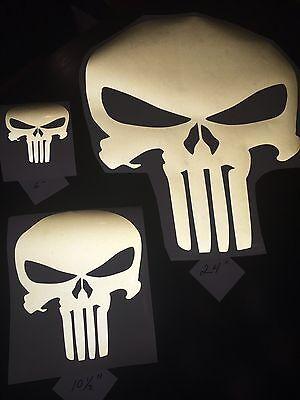 """4"""" Black Reflective Punisher Vinyl Helmet, Car Window Decal Sticker"""
