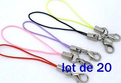 MIX de 20 Dragonnes AVEC Mousqueton 5 couleurs pour créer Attache sac portable