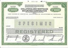 """COLLATERALIZED MORTGAGE SECURITIES CORPORATION....""""SPECIMEN"""" MORTGAGE CERTIFICAT"""