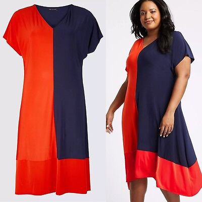 Ex M/&S Orange Navy Block Curve Jersey Plus Size Party Dress Sizes 18-32