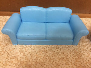 Barbie Doll Decor Collection House Couch Blue Sofa Living ...
