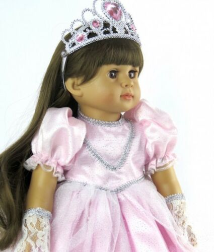 """Pink Princess Costume Gown Dress Set Tiara for American Girl 18/"""" Doll Clothes"""