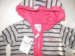 New Sugar Pink Zip Up Jersey Hooded Top Jacket Navy /& Grey Stripe /& Pink Trims