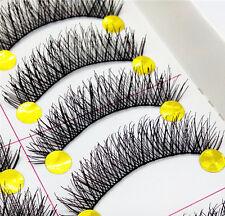 Black Handmade 10 Pairs Thick Makeup Fake Eyelashes Natural Long False Lashes
