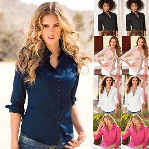 Womens-Turn-Down-Collar-OL-Long-Sleeve-Blouse-Ladies-Office-Work-Shirts-Clothing