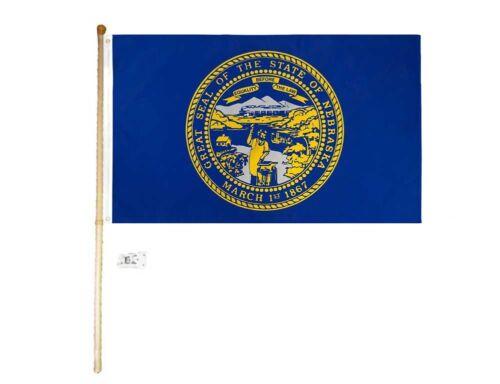 5 Ft Wooden Flag Pole Kit Wall Mount Bracket With 3x5 Nebraska State House Flag