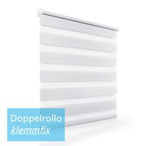 Rollo-Doppelrollo-klemmfix-Duo-rollo-ohne-Bohren-Weiss-fuer-Fenster-90x150cm