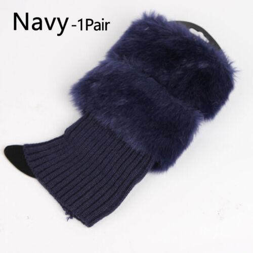 1 Pair Women faux fur Boot Cuffs Knit Toppers Boot Socks Winter Leg Warmers