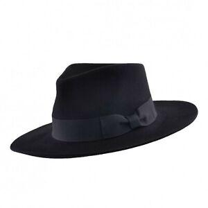 Raide-et-snap-Brim-100-Laine-Feutre-Fedora-Trilby-chapeau-a-large-bande