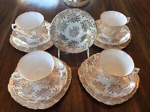 Image is loading Tea-Set-4-Royal-Vale-England-Bone-China- & Tea Set-4 Royal Vale England Bone China Cup Saucer \u0026 Plate Trios ...