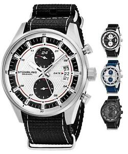 Stuhrling 845 Men's Chronograph Dual Time Nylon Strap TruTime Racer Sport Watch