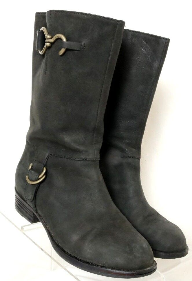 Cole Haan Air Tantivy Charcoal Suede Brass Bit Riding Boot Women's US 6.5B