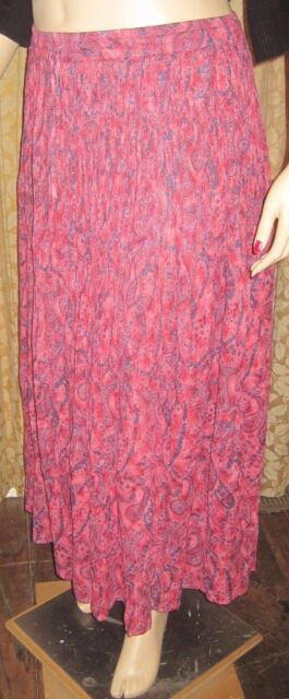 Collections Etc. Size Large Bright Pink Broomstick Style Skirt 100% Cotton