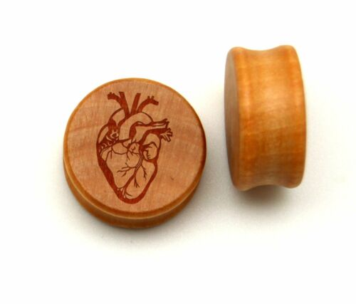 """00G 7//16/"""" 1//2/"""" 9//16/"""" 5//8/"""" 3//4/"""" 7//8/""""  AND UP ANATOMY HEART WOODEN PLUGS PAIR"""