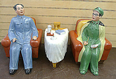 Chinese Cultural Revolution Chairman Mao Porcelain Statue Set