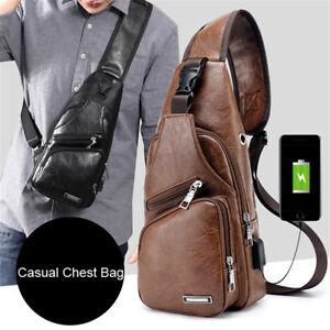 90267e7fa00c Men PU Anti-Theft Outdoor Shoulder Chest Crossbody Bag Travel USB ...
