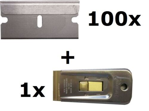 100 x Scraper Blades With 1 x Deluxe Metal Scraper Single Edge Razor Blade 2728