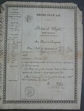 Permis de CHASSE. AUVERGNE Puy de Dôme. 1863.