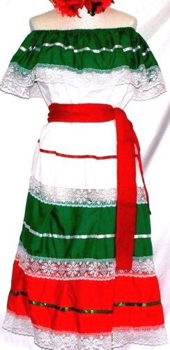5 de mayo Dress off shoulder ruffle 2 pc sash Mexican Fiesta Tricolor folklorico