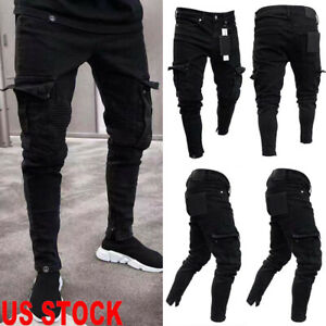 US-Mens-Slim-Fit-Urban-Straight-Leg-Trousers-Casual-Pencil-Jogger-Cargo-Pants