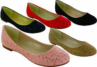 NEW LADIES WOMEN'S  DIAMANTE FLAT CASUAL LOAFER BALLERINA SLIPPER SHOES SIZE 3-8