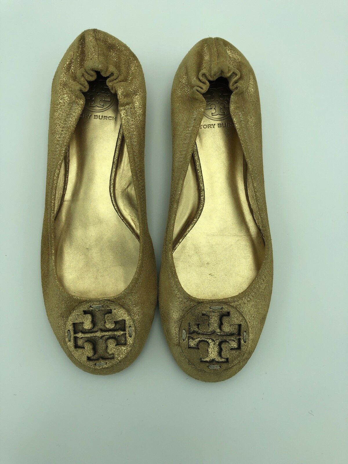 Tory Tory Tory Burch Ballet Zapatos sin Taco Sin Cuero Nobuck oro metálico Talla 8M Seminuevo  el más barato