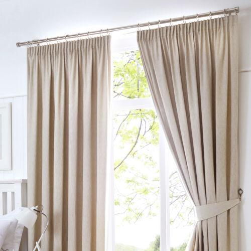 Fusion DIJON Natural Beige Blackout Pencil Pleat Curtains Tiebacks /& Cushions