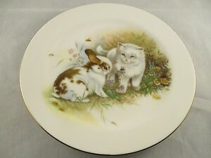 Hornsea-Pottery-Country-Scene-Plate-Cute-Rabbit-amp-Kitten-Design-Display-Item