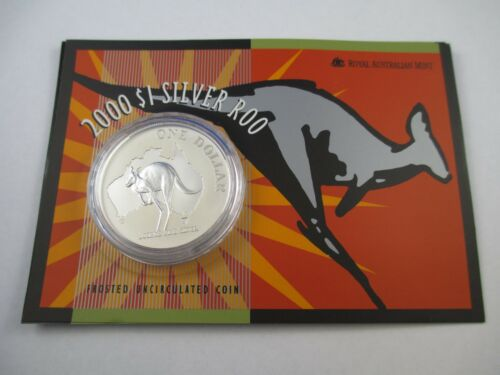 $1 SILVER KANGAROO FROSTED UNCIRCULATED 1oz COIN ON CARD 2000 RAM COMPLETE!!