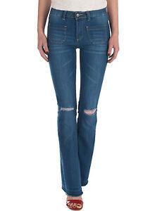 Damen-Jeans-Hose-Bootcut-regular-waist-kneecut-Damenjeans-ausgefranst-blau-Neu