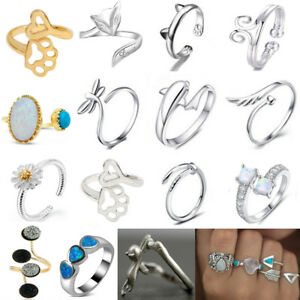 Women-925-Silver-Filled-Rings-Animal-Fire-Opal-Open-Turquoise-Rings-Adjustable