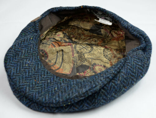 Navy Tweed Herringbone NewsBoy 8 Panel Gatsby BakerBoy Flat Cap Wool MJR UK