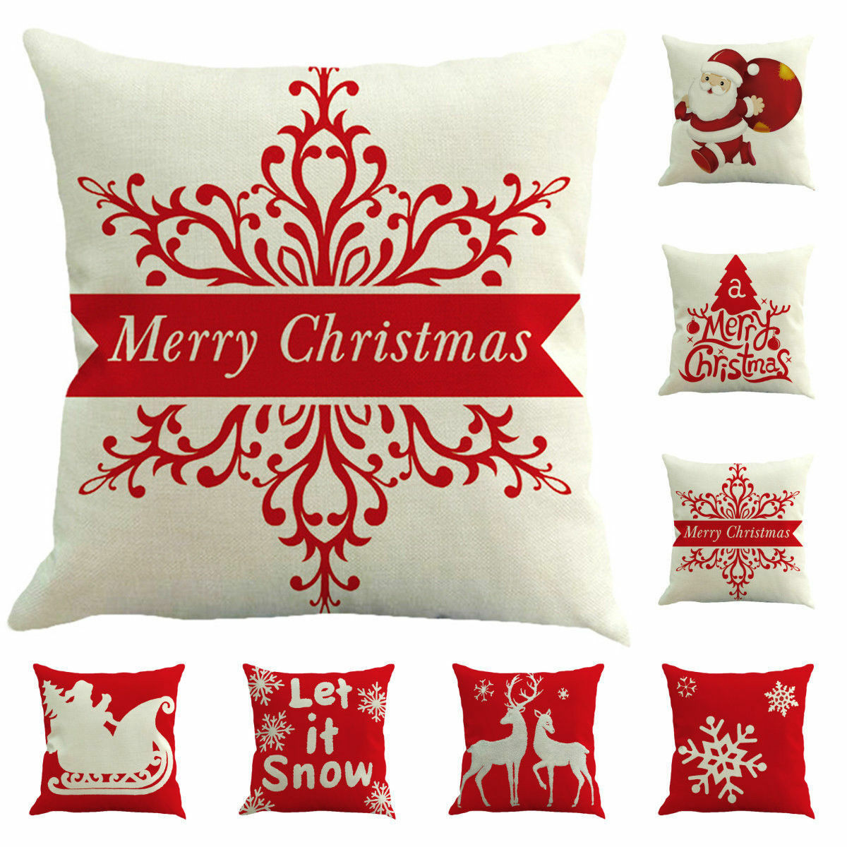 Christmas Xmas Soft Cushion Cover Throw Pillow Case Home Decor Festive Gift Red