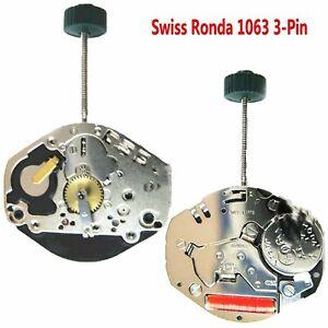 Suizo-Ronda-1063-3-Pines-Movimiento-de-Cuarzo-Reloj-Recambios-Reparar-Accesorios