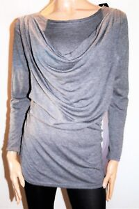 Unbranded-Grey-Drape-Front-Long-Sleeve-Stretch-Tunic-Top-Size-S-M-BNWT-TG38