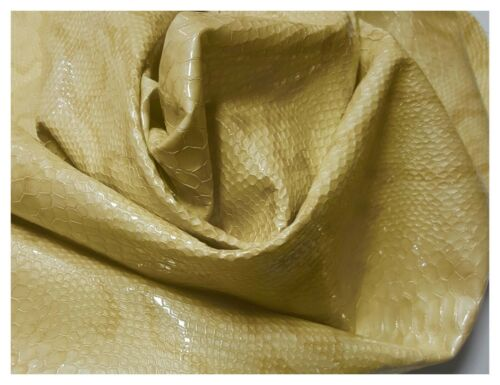 Leather Cow Hide Embossed Yellow Banana Snake Upholstery Pale Cowhides