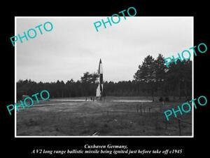 OLD-POSTCARD-SIZE-PHOTO-CUXHAVEN-GERMANY-THE-WWII-V2-ROCKET-LAUCH-c1945-1