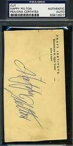 Hap-Happy-Felton-Psa-dna-Coa-Hand-Signed-3x5-Index-Cut-Authentic-Autograph