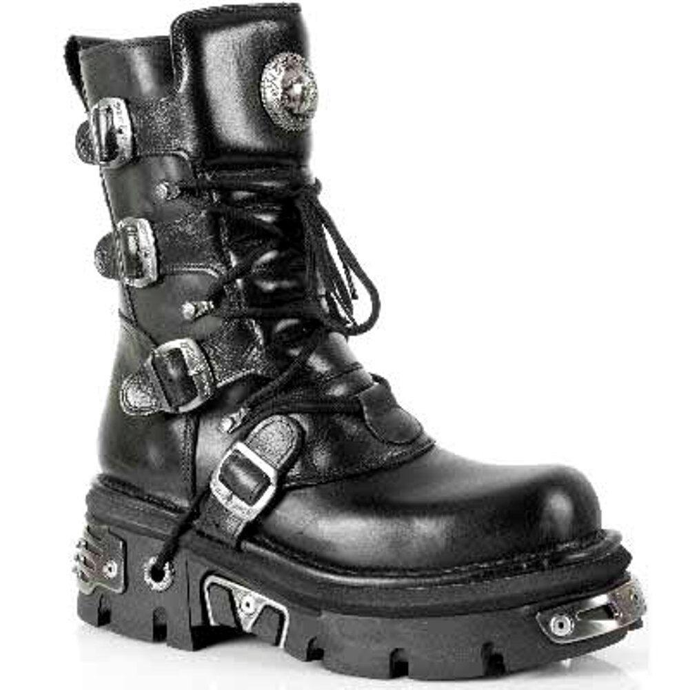 New Rock M.373-S4 Metallic Botas Biker Negro 100% Leather Goth Biker Botas Emo Fashion faf030