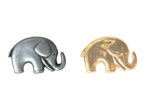 Metal Elephant Button in Gold /& Silver 20mm x 14mm