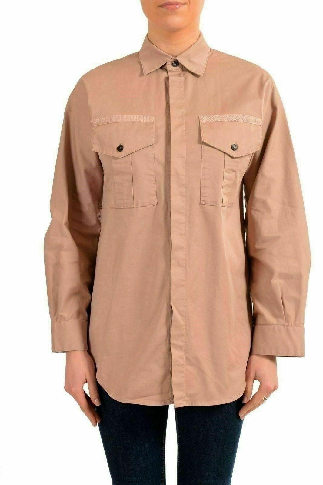 Dsquared2 Women's Beige Long Sleeve Button Down Shirt US XS IT 38