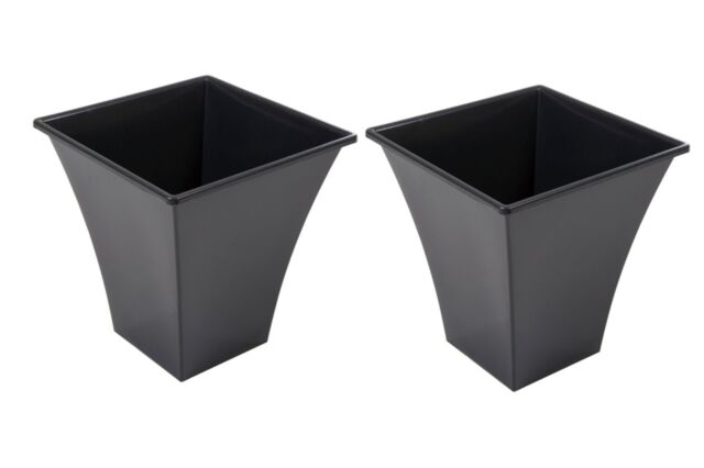 183 & 2 X Large Black Plastic Plant Pots Indoor Outdoor Garden Flower Tall Planter Pot