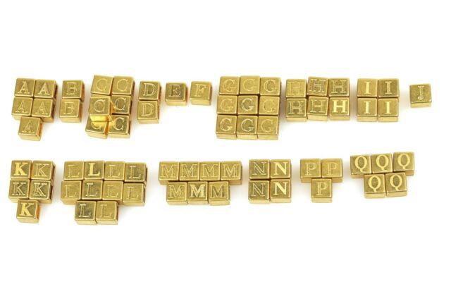 Designer 138pc gold metal square letter initial bracelet necklace charms NEW
