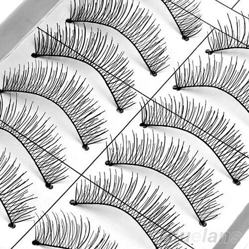 10 Pair Stunning Natural Cross Chic Handmade Eye Lashe Extension False Eyelashes